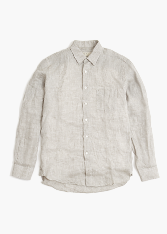Long Sleeve Linen Shirt – Dove Grey