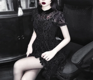 Black Gothic Dress Short Sleeve