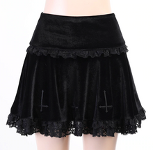 Load image into Gallery viewer, Goth Cross Black Skirt