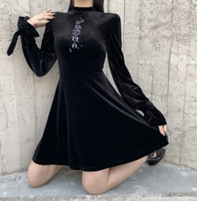 Load image into Gallery viewer, Goth Moon Embroidery Black Dress