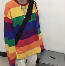 Load image into Gallery viewer, Rainbow Emo Striped  T Shirt