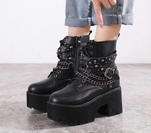 Load image into Gallery viewer, Gothic Black Ankle Boots with Chain