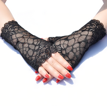 Load image into Gallery viewer, Goth Half Finger Lace Gloves