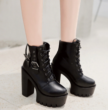 Load image into Gallery viewer, Gothic Black Ankle Boots