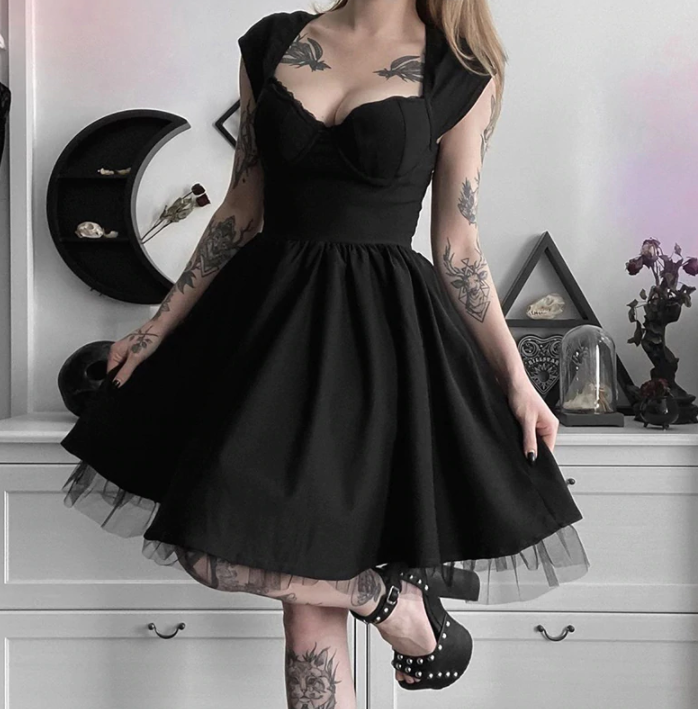 Gothic Black Mini Patchwork Dress