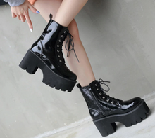 Load image into Gallery viewer, Black Patent Leather Ankle Boots Punk Goth