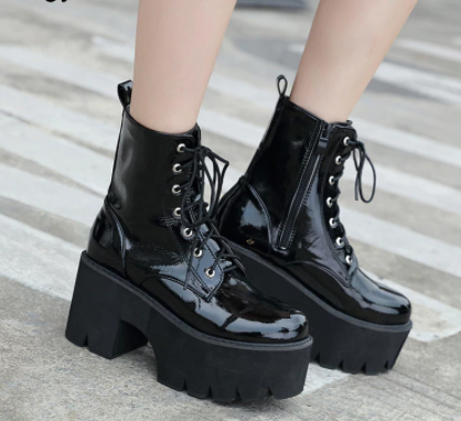 Black Patent Leather Ankle Boots Punk Goth