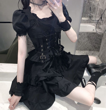 Load image into Gallery viewer, Goth Puff Sleeve Black Dress