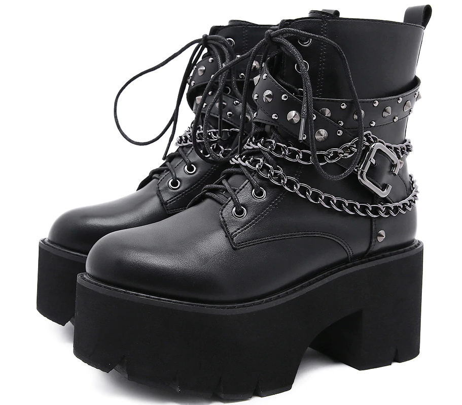 Gothic Black Ankle Boots with Chain