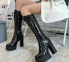 Load image into Gallery viewer, Black Gothic Knee High Boots
