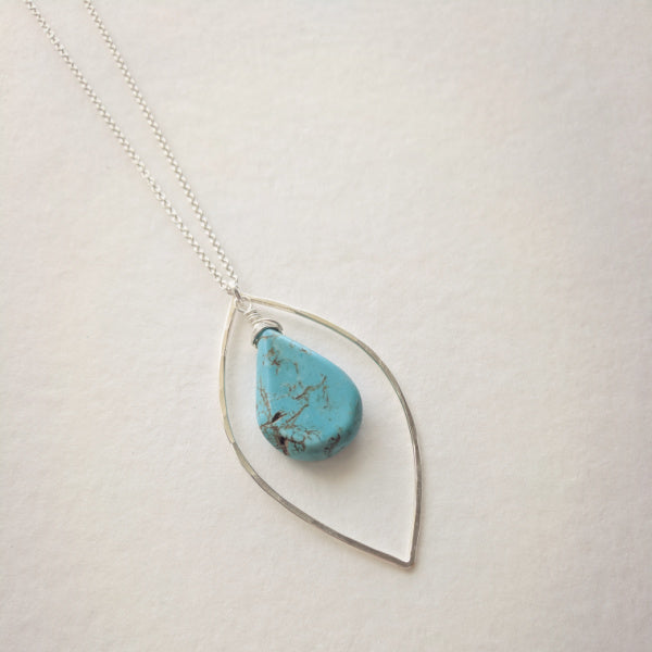 Beatrixbell Handcrafted Jewelry - Marquise Necklace With Turquoise Teardrop - urbaca