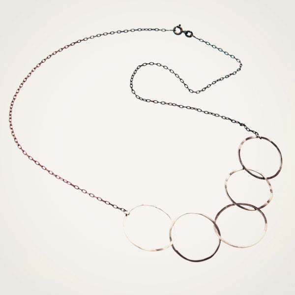 Beatrixbell Handcrafted Jewelry - Five Moons Necklace - Sterling Silver - urbaca