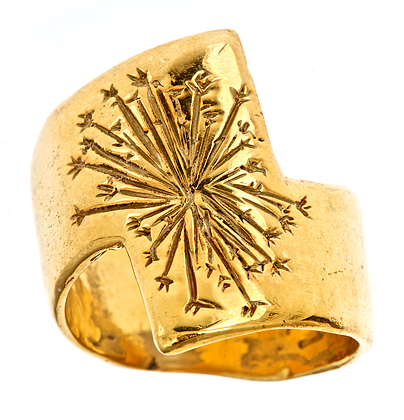 Falcon Feather - Dandelion Wide Band Ring - Matte - urbaca