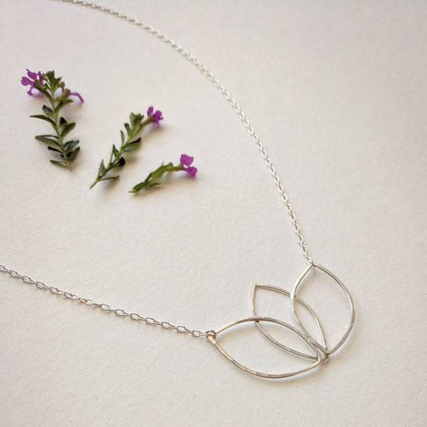 Beatrixbell Handcrafted Jewelry - Lotus Necklace - Sterling Silver - urbaca