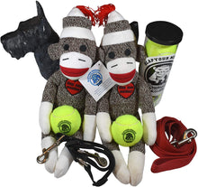Load image into Gallery viewer, Unique Sock Monkey Squeaky Dog Chew Toy w/Bone & Ball in Head