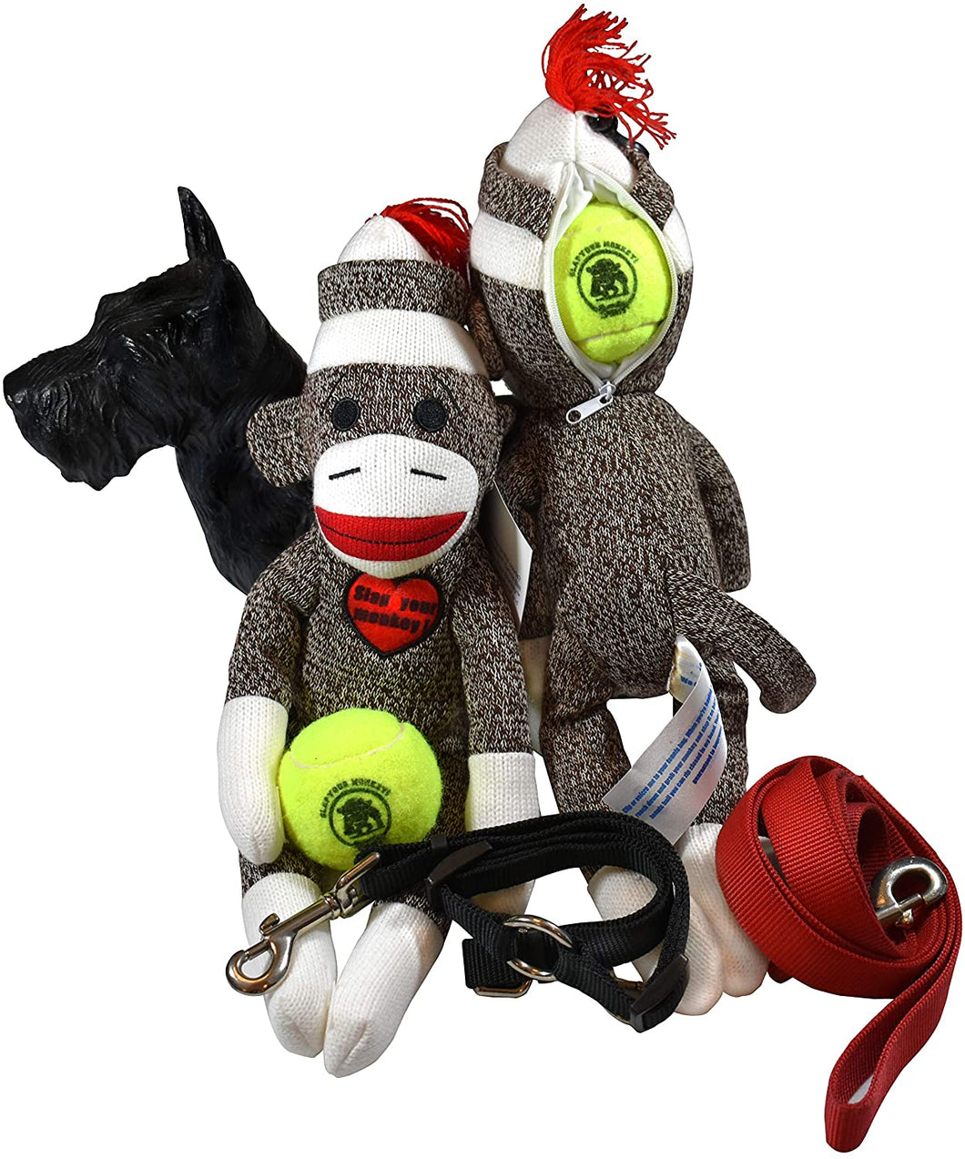 Unique Sock Monkey Squeaky Dog Chew Toy w/Bone & Ball in Head