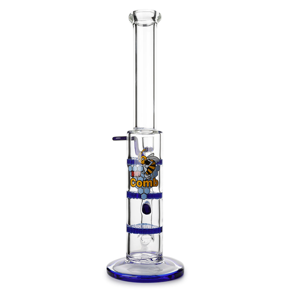 Glass Triple Disc Perc Bong Blue HoneyComb