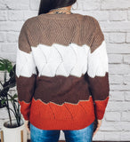 Hotel California Brown V Neck Colorblock Sweater