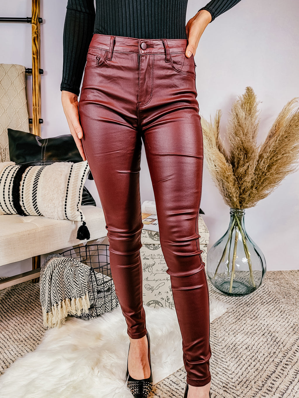 Wine Jordan Leatherette Pocket Detail Trousers