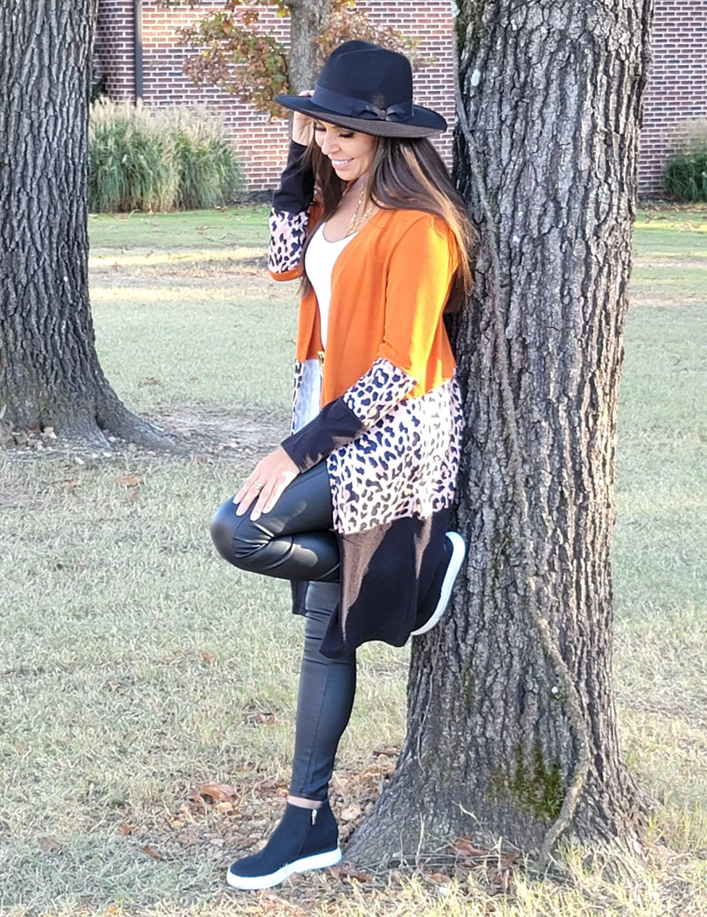 L.A. Woman Orange Leopard Splicing Colorblock Cardigan