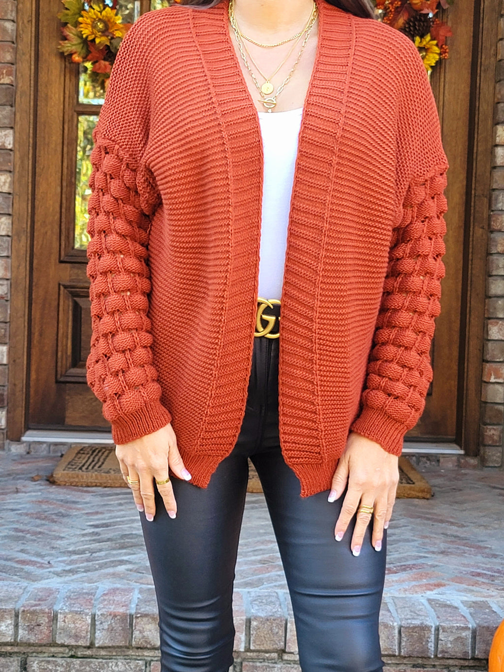 Burning Down the House Rust Oversized Cardigan