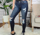 Hold On Loosely Kan Can Distressed Skinny Jeans