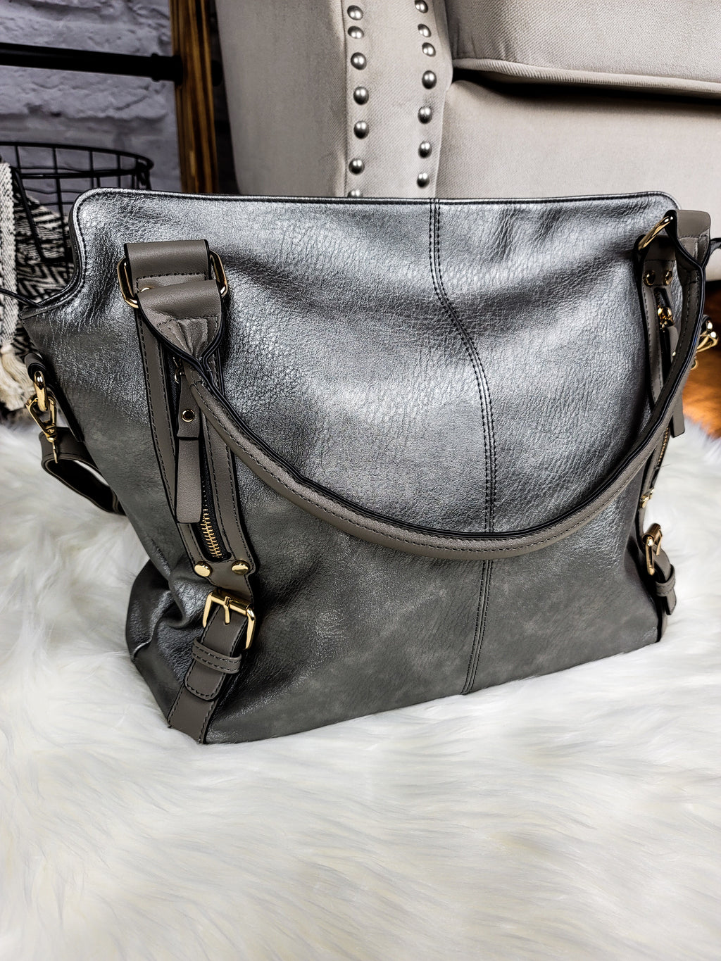 I Heard a Rumor Gray Faux Leather Bag