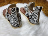 Walk This Way Snakeskin Sandals