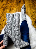 Feel Like Makin' Love Snake Print Pointed Toe Booties