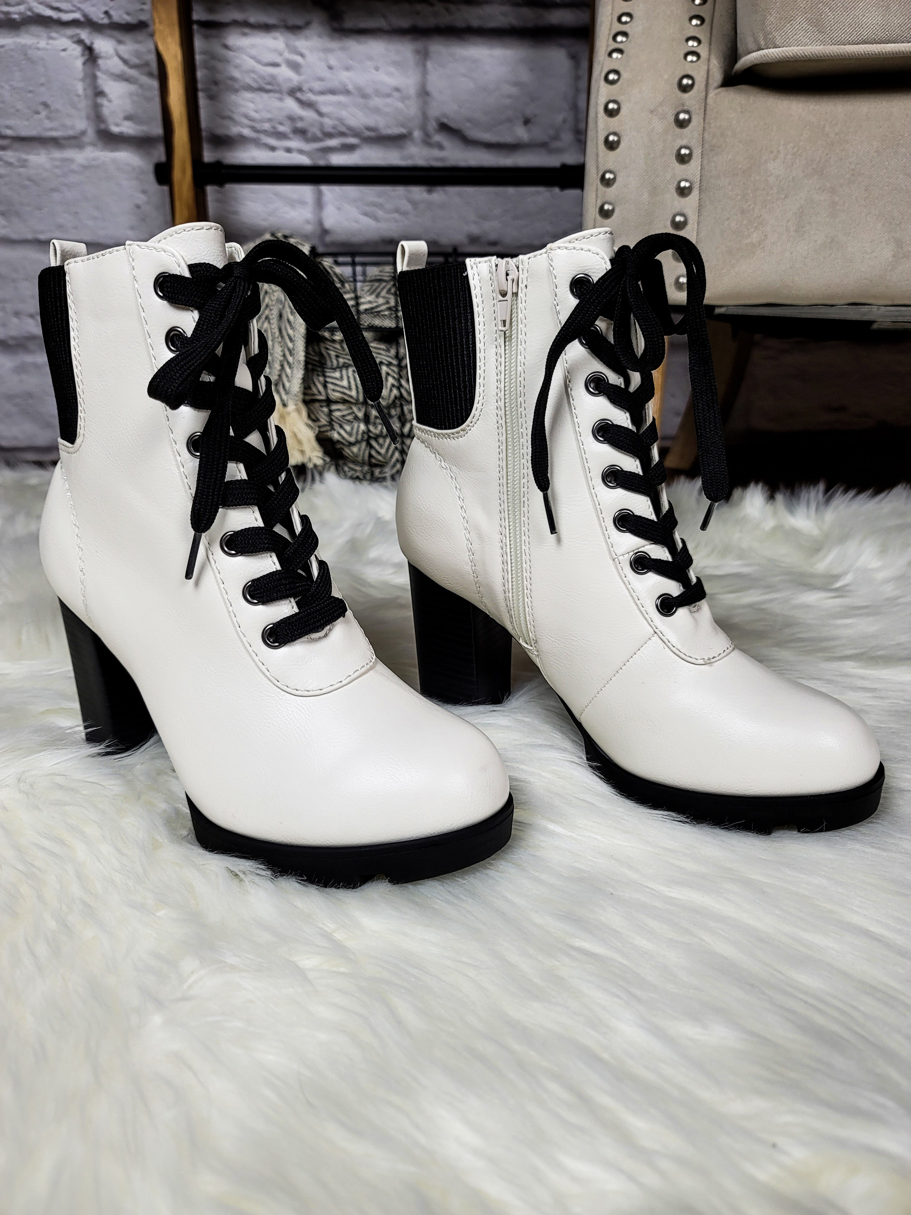 Time Stand Still White Combat Boots