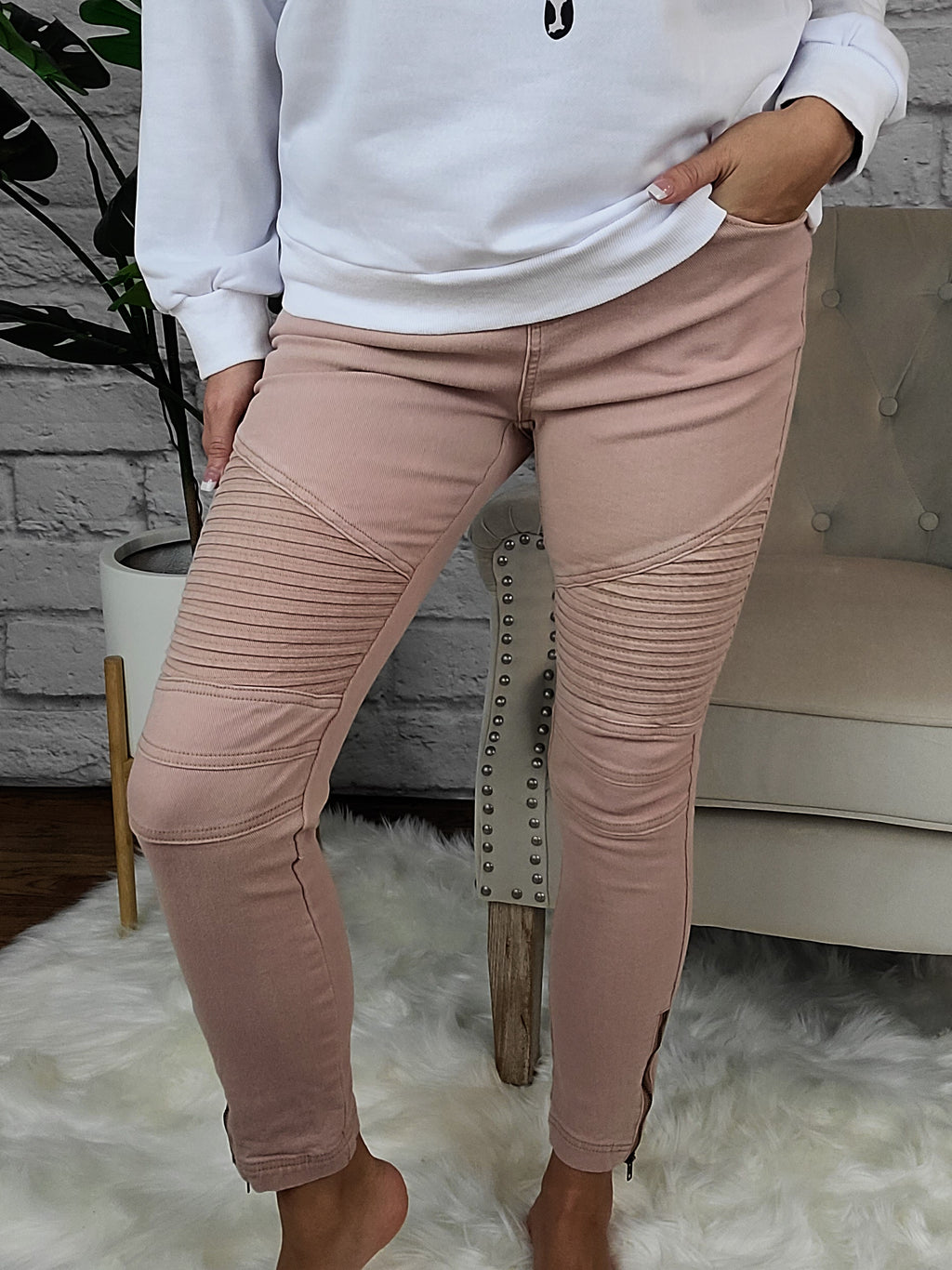 Take Your Time Blush Moto Leggings