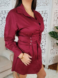 Layla Wine Long Sleeve Shirt Dress