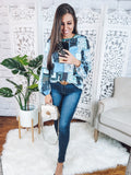 Calling You Blue Boho Floral Blouse
