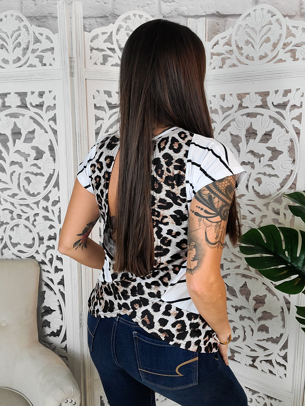 Breathless Leopard Open Back Tee