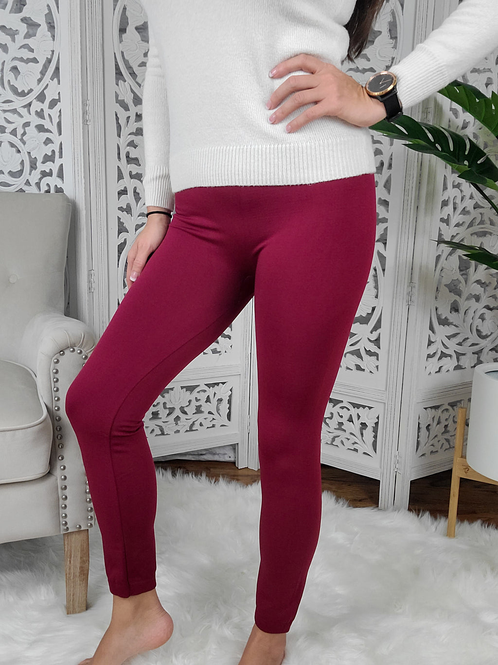 Keep Me Warm Wine Red Leggings