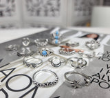 Moon & Flower 15 Piece Silver Ring Set