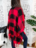 Silent Night Red Buffalo Plaid Pancho