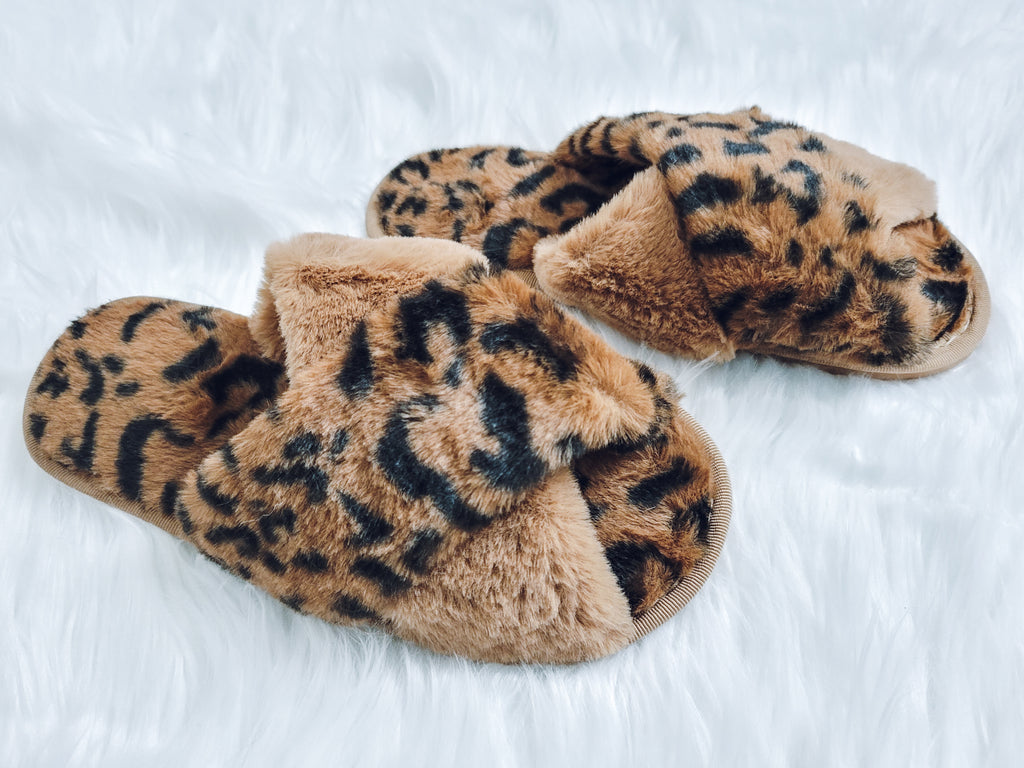 Brown Leopard Furry Slippers