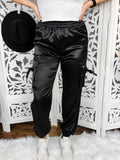 Black Satin Utility Trousers