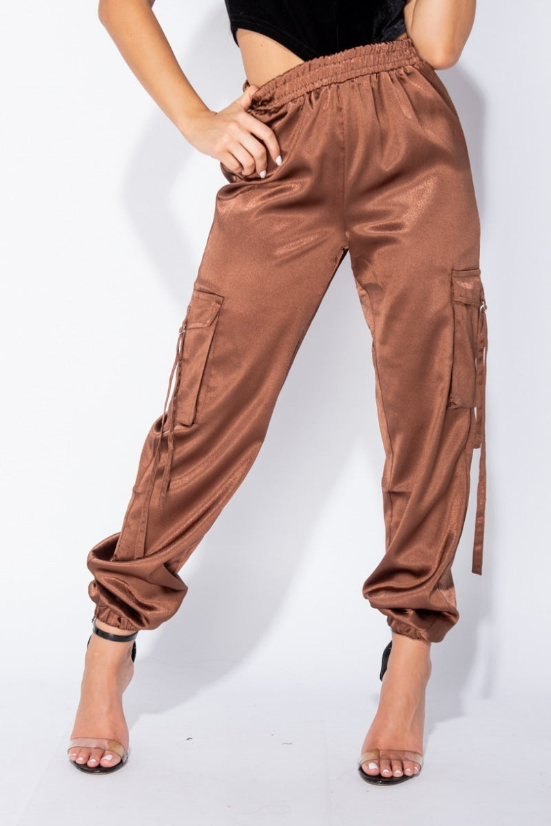 Turn the Page Brown Satin Utility Trousers