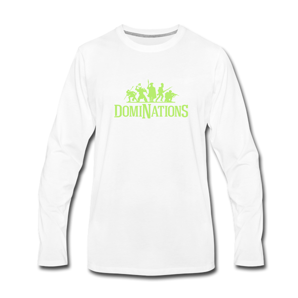 Men's DomiNations Lime Green Long Sleeve T-Shirt - white