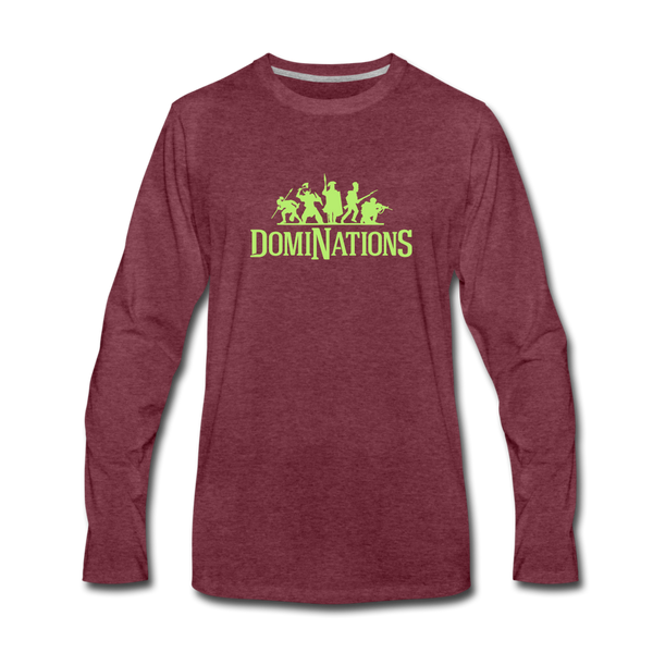 Men's DomiNations Lime Green Long Sleeve T-Shirt - heather burgundy