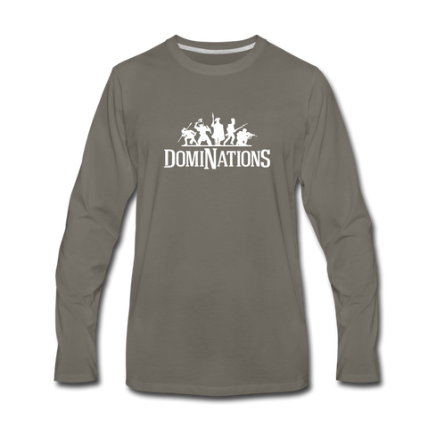 Men's DomiNations White Logo Long Sleeve T-Shirt - asphalt gray