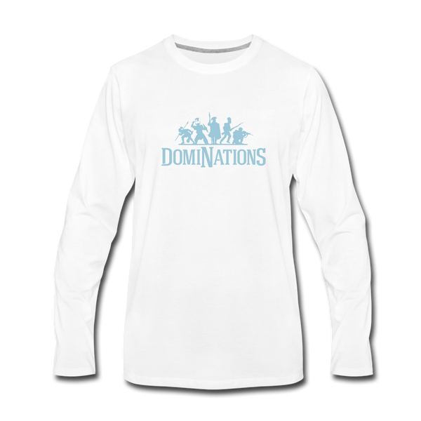 Men's DomiNations Light Blue Logo Long Sleeve T-Shirt - white