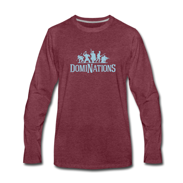 Men's DomiNations Light Blue Logo Long Sleeve T-Shirt - heather burgundy