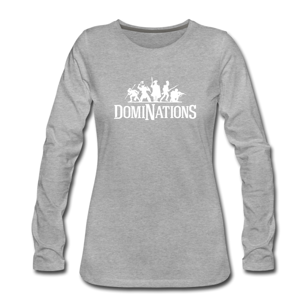 Women's DomiNations White Logo Long Sleeve T-Shirt - heather gray