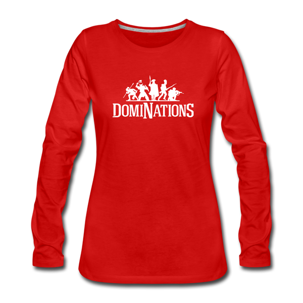 Women's DomiNations White Logo Long Sleeve T-Shirt - red