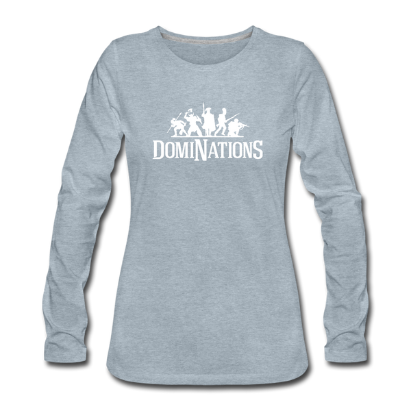 Women's DomiNations White Logo Long Sleeve T-Shirt - heather ice blue