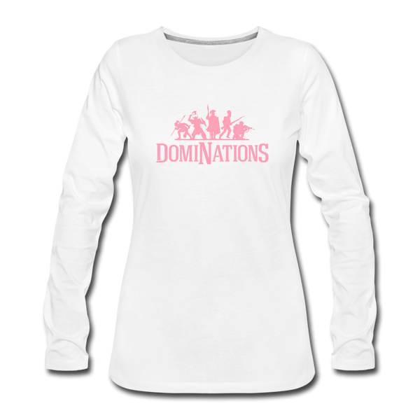 Women's DomiNations Pink Logo Long Sleeve T-Shirt - white