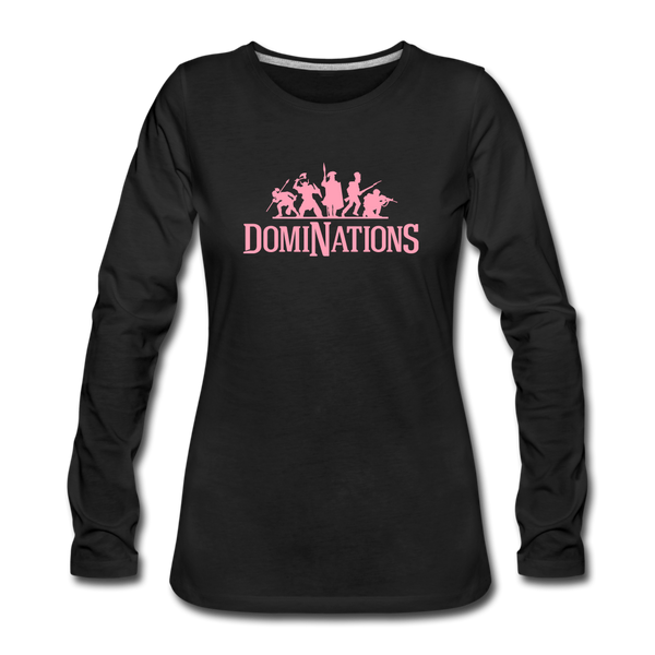 Women's DomiNations Pink Logo Long Sleeve T-Shirt - black